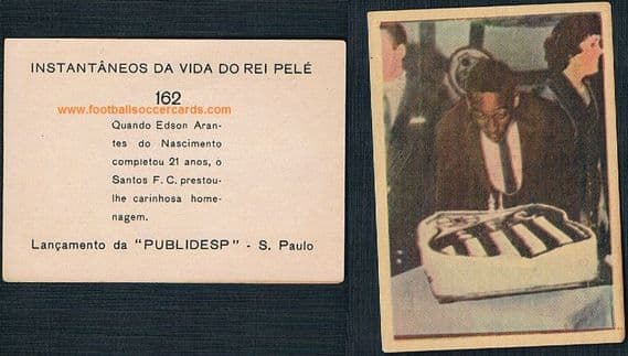 1961 Pele & a Santos 21st-birthday cake picture on an early-1960s rarity from Brazil