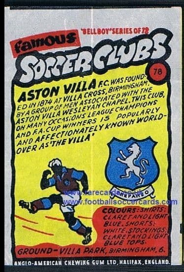 1962 Anglo American Gum bell Boy Famous Soccer Clubs Aston Villa 78
