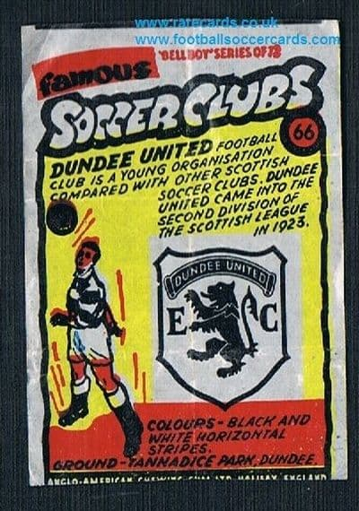 1962 Anglo American Gum bell Boy Famous Soccer Clubs Dundee United 66