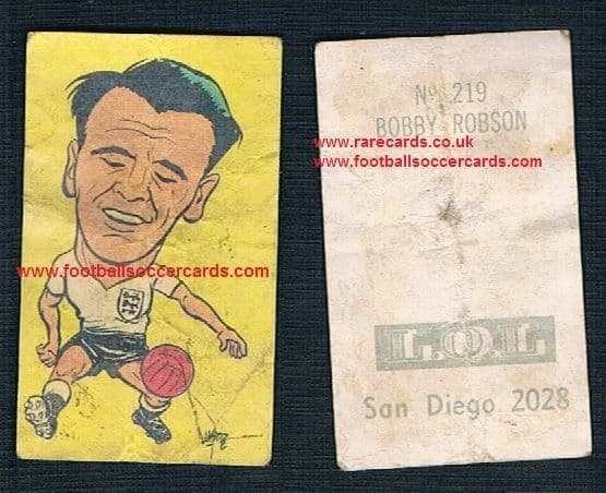 1962 Bobby Robson England WBA sticker from Chile World Cup 62 LQL