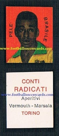 1962 Pele Conti Radicati vermouth trade card from Italy TOP RARITY! Early Pele is stunning condition