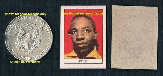 1962 Pele nr-MINT Stella card, sharp, clean centered small type +blotch as printed - coin to scale