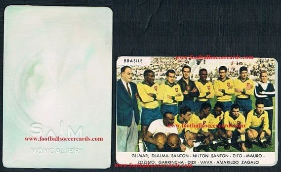 1962 SAIM plastic card Pele and the Brazil team, great condition, 1,500 on EB!