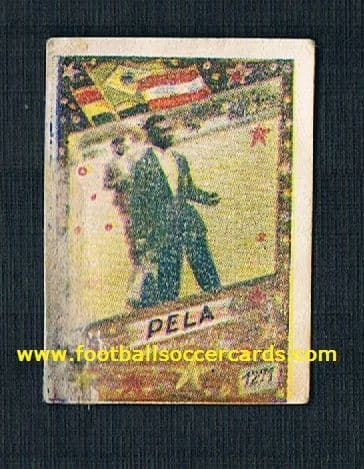 "1962 WC62 Yugoslavian gum card PELE 1271 some faults SOLD AS SEEN Serbo-Croat language ""PELA"""