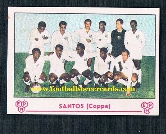 """1964 Pele Panini Santos """"Coppe"""" card from Italy - unused with clean back, small mark"""