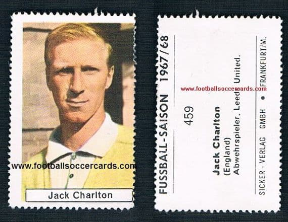 1967 Leeds United England Jack Charlton German sticker stamp by Sicker