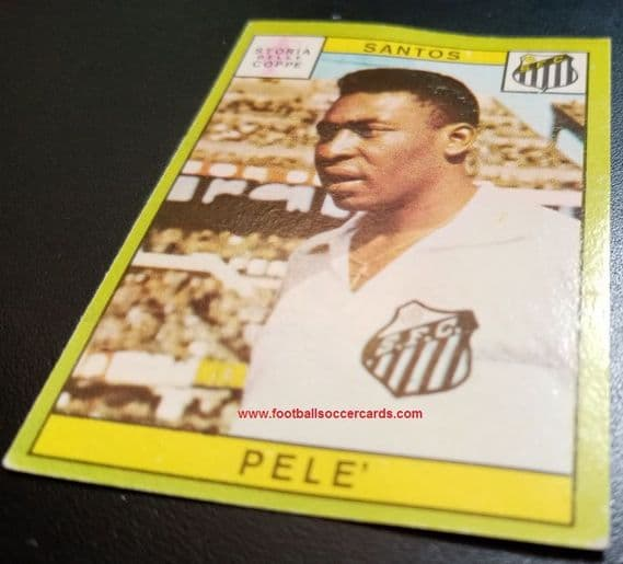1968 Panini Pelé Brazil Pele card mostly clean, clean back but some waviness to cardstock clear back
