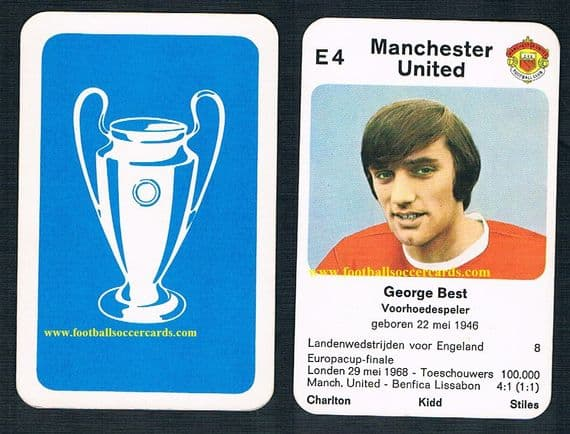 1968 Quartets George Best card from the Netherlands