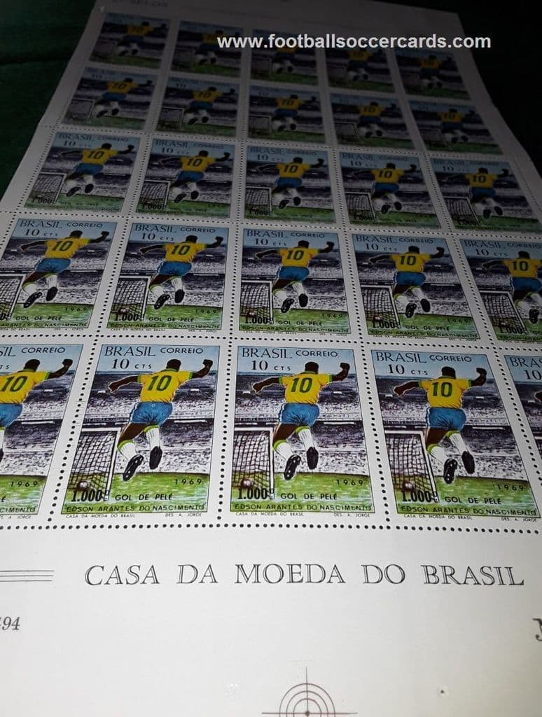 1969 uncut PELE Brazil-only issue commemorative stamps for Pele's 1000th goal - from my #2 book