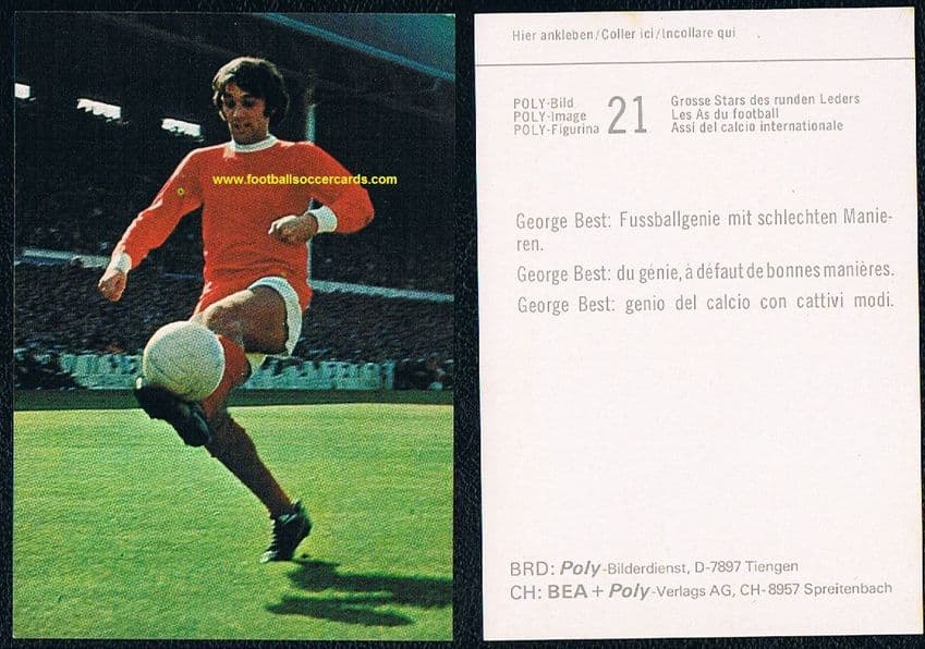 1970 George Best in action on a very clean Swiss card by Poly
