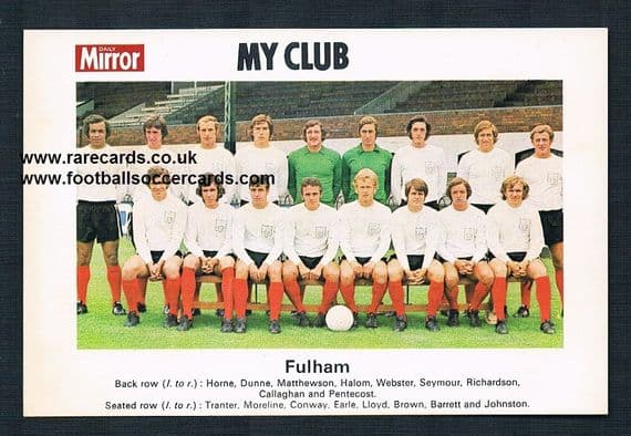 1970 My Club Daily Mirror postcard-size card Fulham