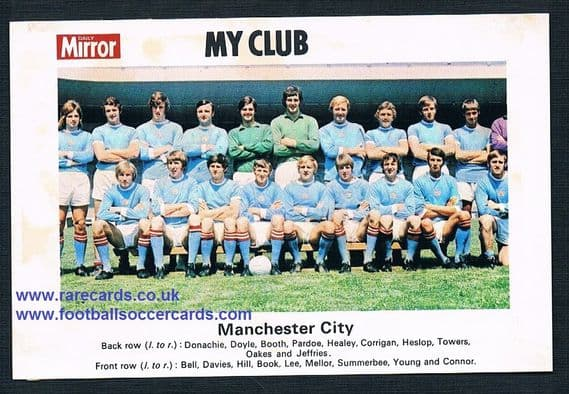 1970 My Club Daily Mirror postcard-size card Manchester City