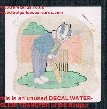 1970s unused decal transfer of Rupert's Bill Badger playing cricket