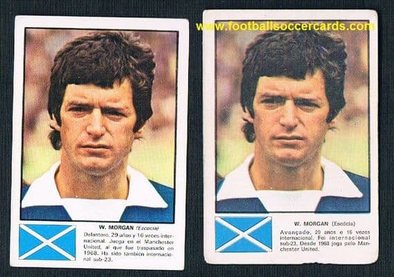 1974 Willy Morgan pair Man United Scotland Fher Spain & APR Portugal WC74
