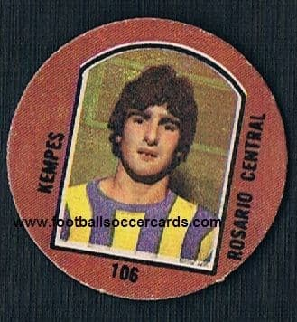 1976 Mario Kempes LEGEND rookie pog Rosario original from Argentina All Time Great!