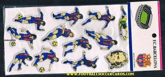 1983 Maradona with Barcelona team plastic cards set, still in packet. Original as new, from Spain