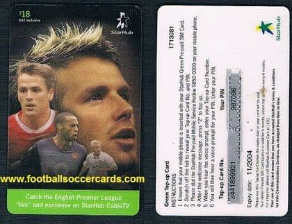 2002 -03 Starhub card David Beckham Michael Owen