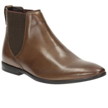 Clarks 'Bampton Top' Men's Slip-on Formal Ankle Boot - Tan Leather G