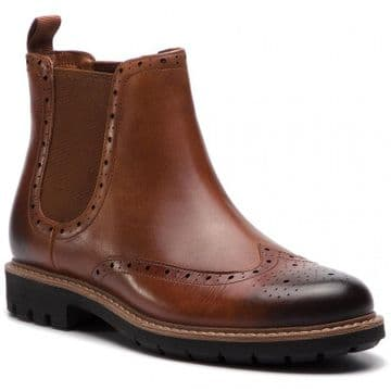Clarks 'Batcombe Top' Men's Chelsea Brogue Boot - Dark Tan Leather G