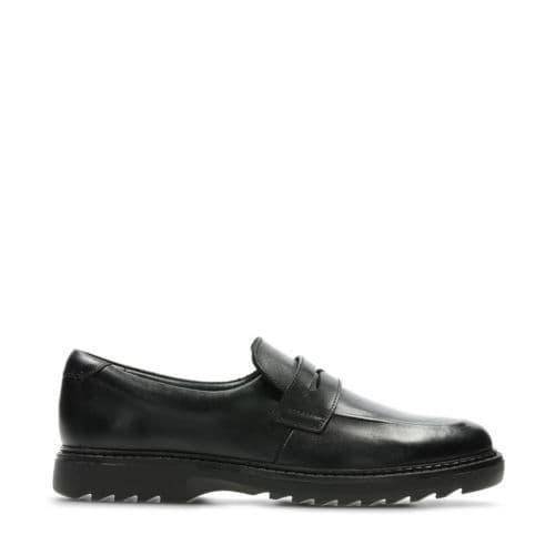 Clarks Boys School Shoes - Asher Stride Junior Black Leather