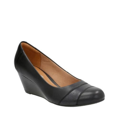 Clarks 'Brielle Tacha' Women's Wedge Heeled Shoe - Black D