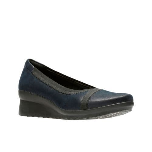 Clarks 'Caddell Dash' Slip-on Comfort Shoes - Navy Synthetic D