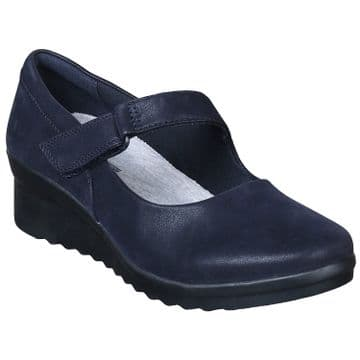 Clarks 'Caddell Yale' Womens Mary Jane Wedge Shoe - Navy D