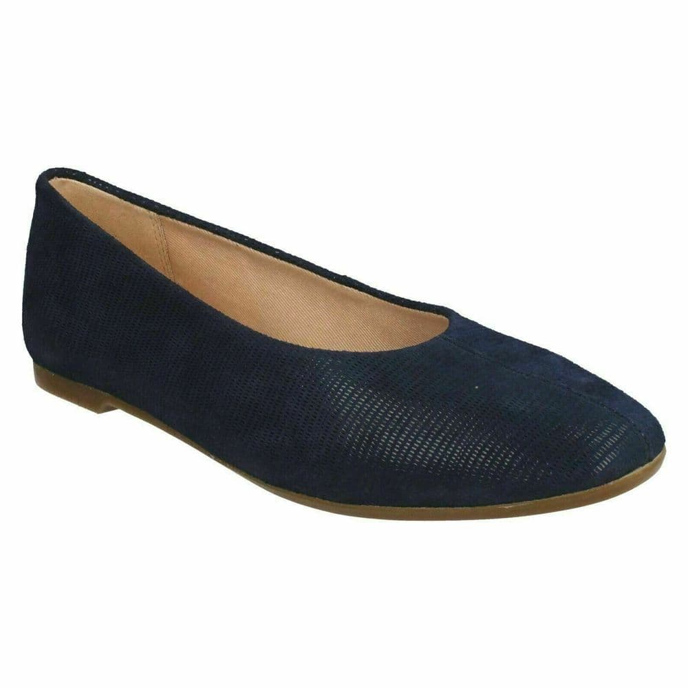 Clarks 'Chia Violet' Women's Flat Pump Shoe - Navy Interest D