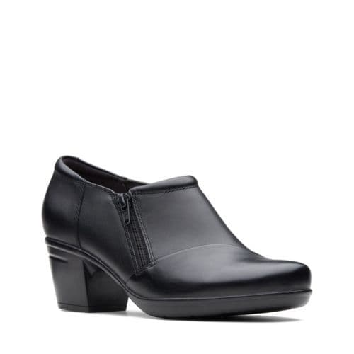 Clarks 'Emslie Claudia' Women's Wide Fitting Low Cut Block Heel Shoe - Black Leather E
