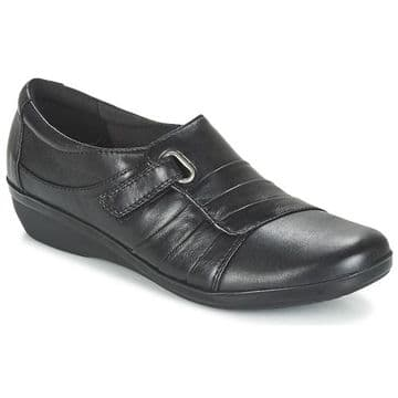 Clarks 'Everlay Luna' Women's Wide Fitting Trouser Shoes - Black Leather E