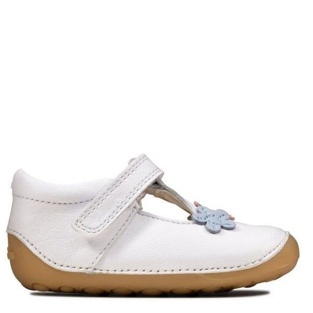 Clarks Girls Pre-Walker Shoes - Tiny Sun White Leather