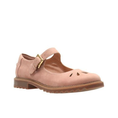 Clarks 'Griffin Marni' Women's Wide Fitting Shoes - Dusty Pink Leather E