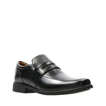 Clarks 'Huckley Work' Men's Slip-on Formal Shoes - Black Leather G