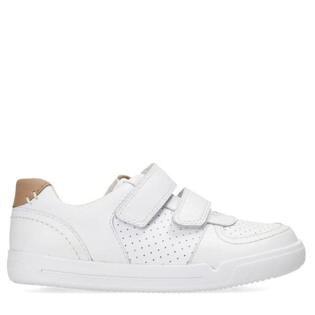Clarks Kids Shoes - Mini Ezra Toddler White Leather