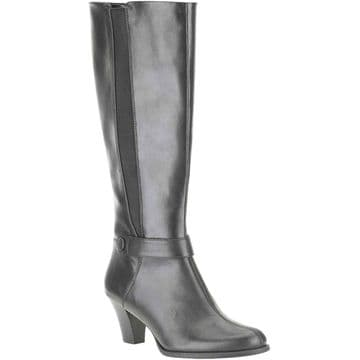 Clarks 'Lease Ritzy' Women's Tall Heeled Boots - Black Leather D