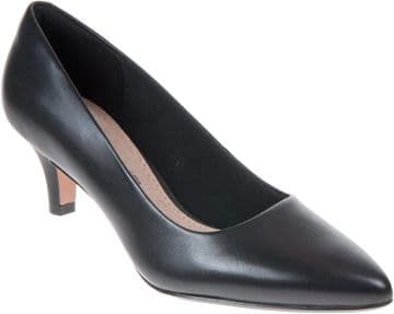 Clarks 'Linvale Jerica' Women's Wide Fitting Court Shoes - Black Leather E