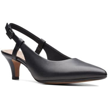 Clarks 'Linvale Loop' Women's Slingback Heel Shoes - Black Leather D
