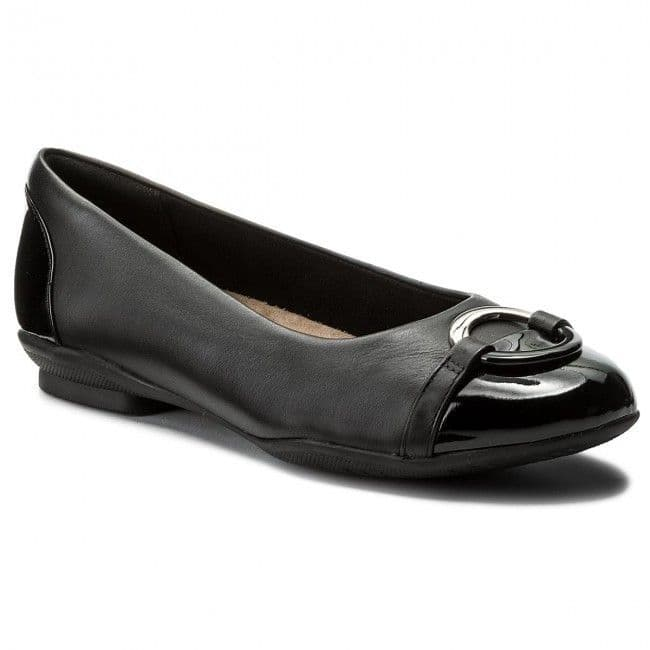 Clarks 'Neenah Vine' Wide Fitting Women's Flat Pumps Shoes - Black Leather E