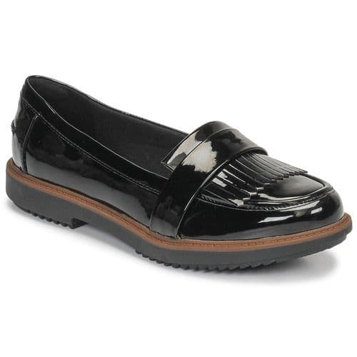 Clarks 'Raisie Theresa' Women's Slip-on Loafer Shoe - Black Synthetic Patent D