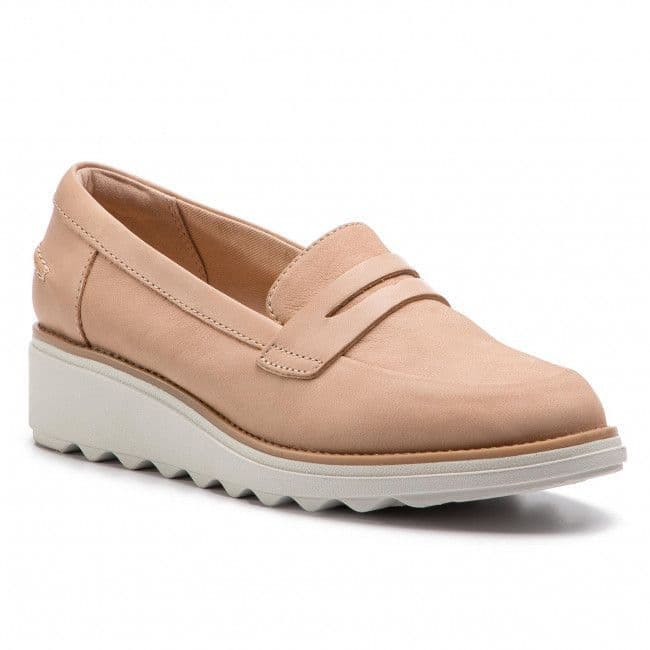Clarks 'Sharon Ranch' Women's Loafer Shoes - Blush Nubuck D