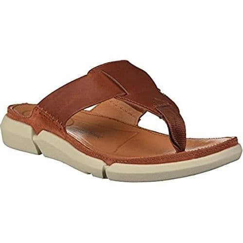 Clarks 'Trisand Post' Men's Toe Post Sandals - Tan Leather G