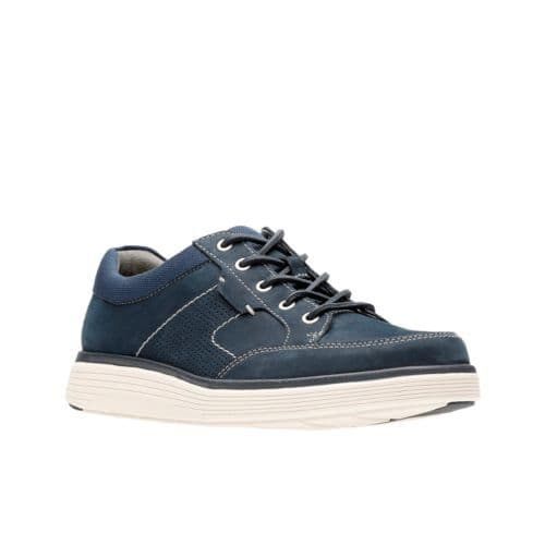 Clarks 'Un Abode Lace' Men's Unstructured Wide Fitting Casual Shoes - Navy Nubuck H