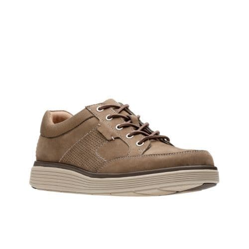 Clarks 'Un Abode Lace' Men's Unstructured Wide Fitting Casual Shoes - Olive Nubuck H