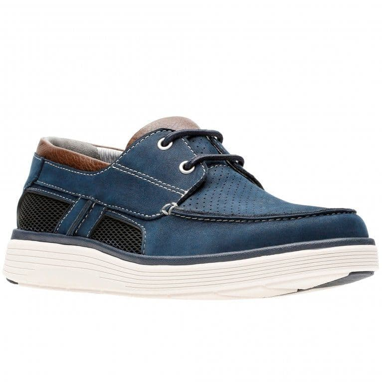 Clarks 'Un Abode Step' Men's Unstructured Wide Fitting Boat Shoes - Navy H