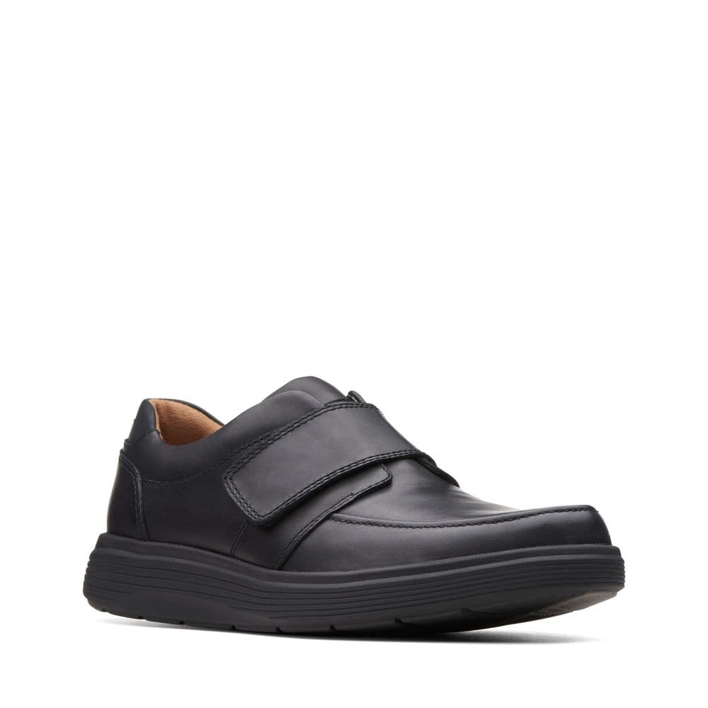 Clarks 'Un Abode Strap' Men's Unstructured Wide Fitting Shoes - Black Leather H