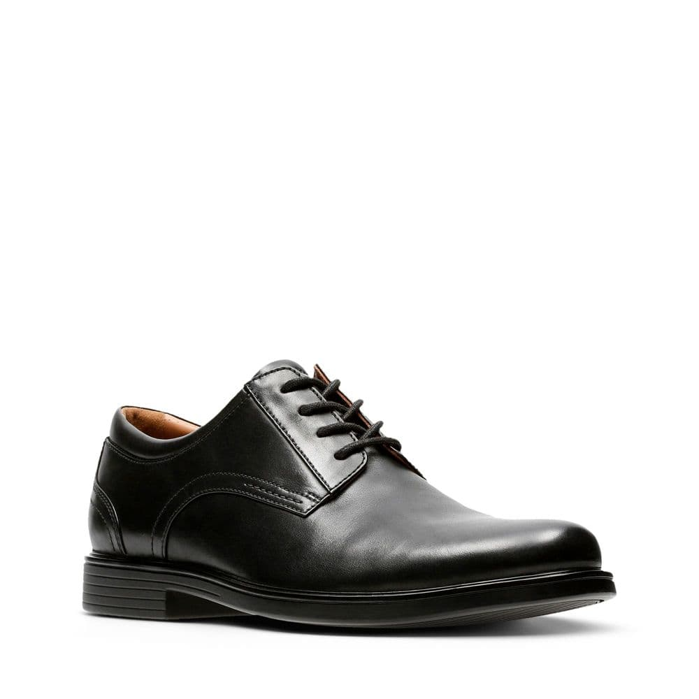 Clarks 'Un Aldric Lace' Men's Unstructured Wide Fitting Formal Shoes - Black Leather H
