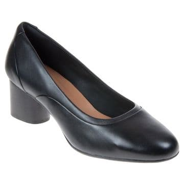 Clarks 'Un Cosmo Step' Women's Wide Fitting Heeled Shoes - Black Leather E