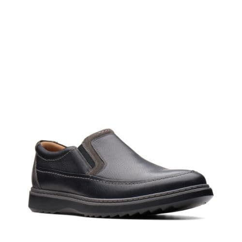 Clarks 'Un Geo Step' Men's Unstructured Wide Fitting Slip-on Shoes - Black Leather H
