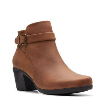 Clarks 'Un Lindel Lo' Women's Casual Ankle Boot - Dark Tan Oily D