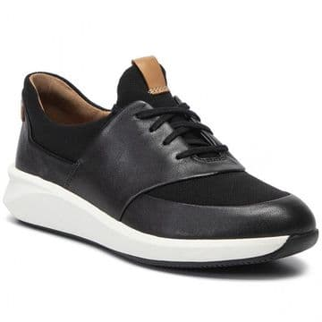 Clarks 'Un Rio Lace' Women's Trainers - Black Leather D